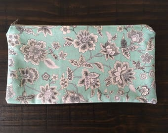Large Teal Floral Zipper Pouch with tan lining