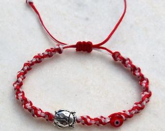 Bracelet, Macrame bracelet, Ladybird Charm, Evil Eye Charm, Egst, Handmade, Greek jewelry, Charm bracelet
