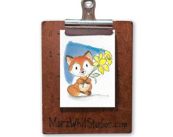 Fox with Daffodil - ACEO - Watercolor - 140 pound Watercolor Paper