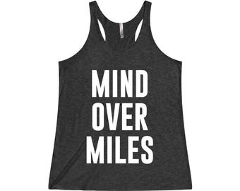 Mind Over Miles - Funny Running Tank, Running Tank, Funny Workout Tank, Running, Gym Tank, Workout Tank, Running Shirt, Running Tanks