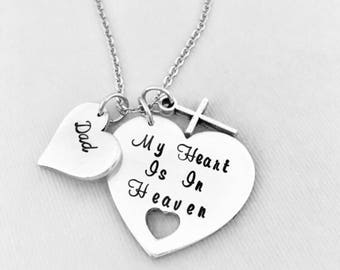 Dad Memorial Necklace, Memorial Jewelry, My Heart Is In Heaven, Personalized Jewelry, In Memory Of, Dad Necklace, Sympathy Gift, Father Loss