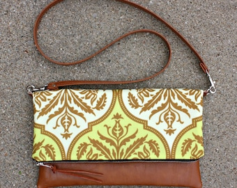 Green and Beige Damask fabric Foldover Clutch / Kindle Case