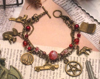Moose And Squirrel - a Supernatural fanart charm bracelet for the Winchesters