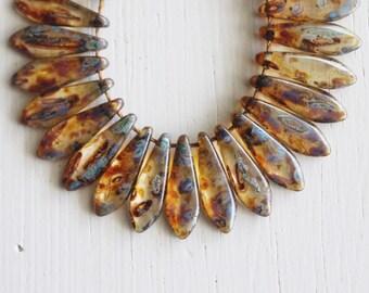 50 Clear Dark Brown Picasso 5x15mm Czech Glass Dagger Beads