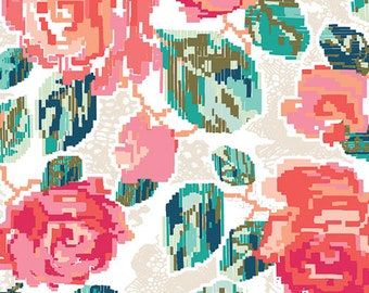 Art Gallery Fabrics - Katarina Roccella Recollection Flowered Engrams in Delicate - AGF Pink Coral Floral - Fall Floral Fabric by the Yard