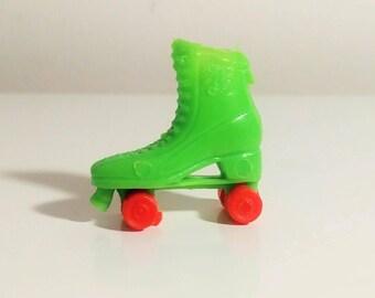 Miniature Roller Skate Charm Bright Green Orange Wheels M K 1 inch Skate Vending Prize