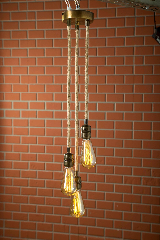 Handgemachte Seil hängende Lampe Vintage Anhänger Stoffkabel