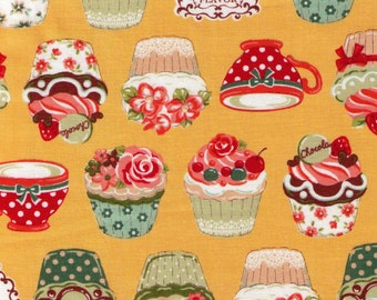 Sale (30) HALF YARD - Cupcake and Teacups on Yellow - Afternoon Tea and Cupcakes - pastries, dessert, snack - Cosmo Textiles Japanese Import