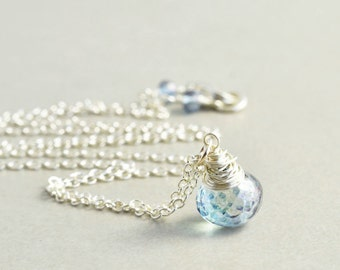 Blue Quartz Drop Necklace, Powder Blue Sterling Necklace, Handmade