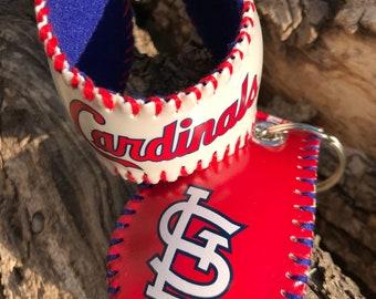 St. Louis Cardinals baseball bracelet cuff and keychain