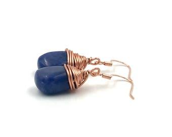 Free Shipping,Lapis Lazuli Earrings,wire wrapped earrings,blue lapis lazuli earrings,wire wrapped jewelry,copper wire,blue lapis earrings