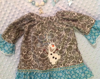 Olaf dress with hair-bow Let it Snow frozen set