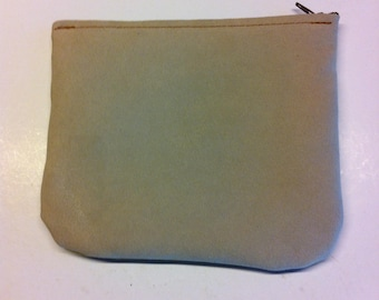 Beige velvet and mustard yellow leatherette makeup pouch