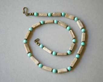 Men's Turquoise and Tan Antiqued Brass Accented Necklace