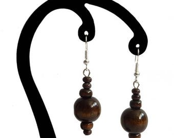 Dark brown wood earrings