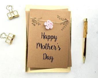 Mother's day card - Crochet flower card - card for mum - card for mom - Rustic mothers day card - crochet flower card
