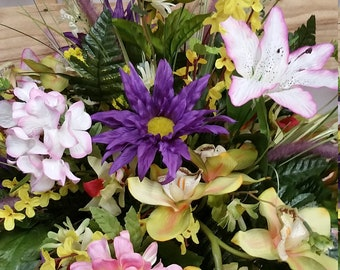 Monument Cemetery Vase Beautiful Peonies In Pale Beauty (Pink), Purple Gerber Daisies, Daisies Cream And Green, Cymbidium Orchids Green And