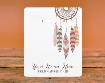 Customize Jewelry Display Cards - Boho Dreamcatcher Feathers Pastel - Earring Necklace Bows - necklace Cards -Packaging  | DS0143