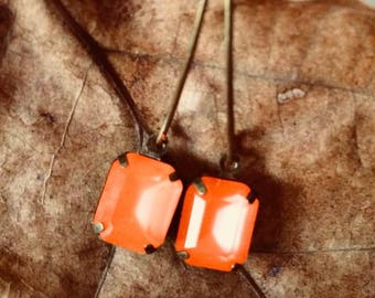 Small Rectangle Jewel Charms Bright Orange Drop Gem 8x10mm, Vintage Style Earrings, Antique Handmade Bronze Kidney Earwire Hooks