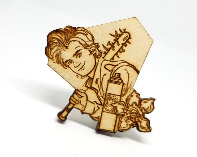 Steve Stranger Things Character Pin | Laser Cut Jewelry | Wood Accessories | Wood Pin | Stranger Things