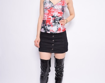 Vintage 90's Spaghetti Strap Top/ Printed Red And Black Top - Size Large