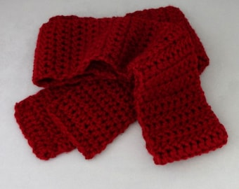 Red Winter Scarf, Long Cranberry Red Crocheted Scarf