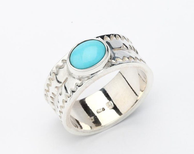Engraved Silver Band | December Ring | Oxidized Silver Band | Personalized Ring | Blue Gemstone Band | Ethnic Silver Ring | Turquoise Ring