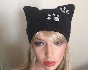 Black pussy cat hat, Wool Pussy cat hat, Cat ear hat,Cat hat,Pussyhat, Pussy hat, cat hat, Black pussycat hat, pussyhat, ear hat