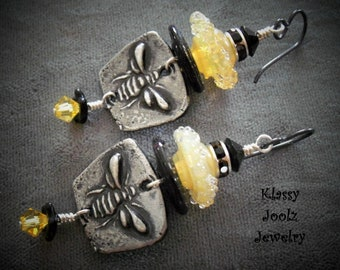 Pewter and Lampwork Beaded Earrings-Honey Bee Pewter Charms-Bee Earrings-Artisan Earrings-Tribal-Primitive-Rustic Earrings-SRAJD