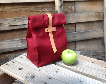 Limited Edition RED Waxed Canvas and Leather Lunch Tote Waxed Canvas Lunch Bag
