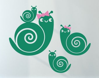 Snail Wall Decals: Ocean Sea Life Theme Beach Baby Nursery Kids Cute Garden Snail Woodland Animals Room Decor