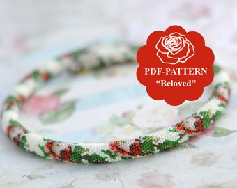 Bead crochet rope pattern Bead crochet necklace pattern Shabby Chic Style Floral pattern Bead crochet bracelet pattern Chudibeads
