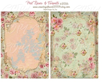 Pink Roses and Teapots Papers -  Printable Digital Collage Sheet - Digital Download -  Romantic instant download - Craft Paper