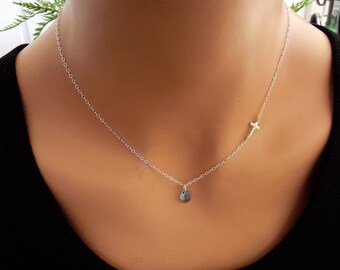 Small Sideways Cross with Crystal  Necklace, Sterling Silver, Celebrity Inspired