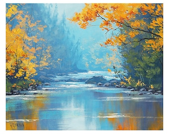 Misty river, misty painting, river painting, misty scene, river oil painting,  by G.Gercken