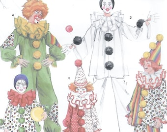 Simplicity 9801 Child's Clown Costume & Hat Sewing Pattern Chest Breast 21 to 30