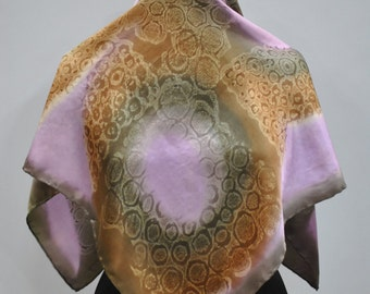 Vintage SILK scarf , hand rolled scarf..(608)