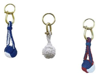 3X key pendant decorating knot, with shackle / key ring cotton brass
