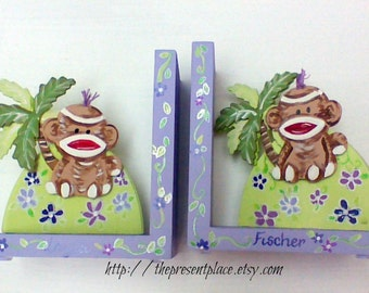 purple monkey bookend,bookends,sock monkeys,purple,personalized bookends,girls bookends,children's bookends,baby's bookends,kids bookends