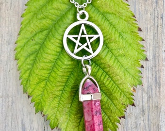 Silver Pentacle and Pink Pointed Stone Necklace