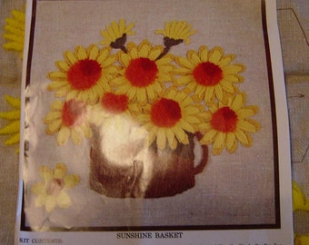 "Vintage 1970s Crewel Needlepoint Kit Sunshine Basket Sunflowers 14"" x 14"""