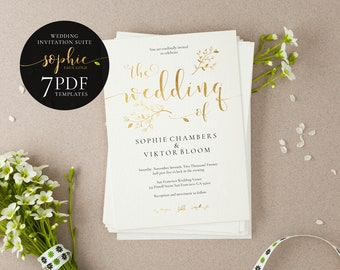 Gold Wedding Invitation Suite, Sophie, Faux Gold Wedding Invitation, Flat Gold Invite, Floral Invitation Template, Calligraphy Design, Liner