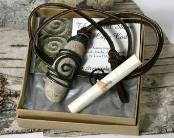 Spiral Stone Necklace - Oval Pendent
