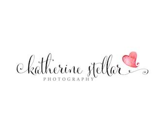 Premade Photography and Watermark Logo Design, Watercolor Heart logo, Blog Header Design 183