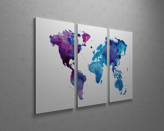 Gallery wrapped map etsy painted world map gallery wrapped canvas triptych print gumiabroncs Image collections