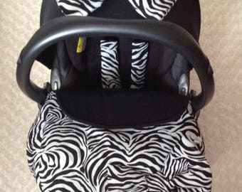 baby car seat apron harness strap covers detachable bow black white zebra universal fit new handmade stay on blanket cotton fleece