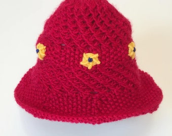 Red Baby Sun Hat, Newborn Sun Hat, Knit Sun Hat, Baby Beach Hat, Girls Sun Hat, Embroidered Sun Hat, Flower Sun Hat, 3 - 12 Mos