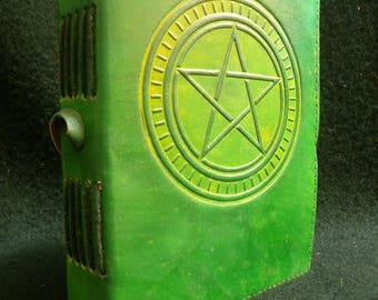 PENTACLE Handmade Leather Journal Diary - Pagan Wicca Book of Shadows
