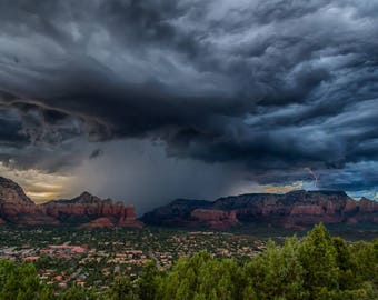 "Arizona Photography, ""Sedona Lightening"", Monsoon Storm, Red Rocks, Rain Clouds, MetalPrint, Customizable Upon Request"