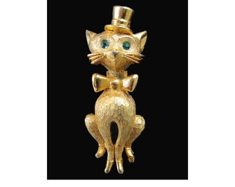 Cat  Pin * Top Hat And Bow Tie * Green Rhinestone Eyes * Cat Jewelry